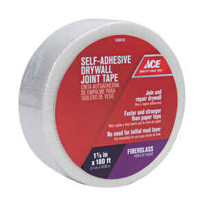 Ace  180 ft. L x 1.88 in. W x 180 ft. L x 1-7/8 in. W Fiberglass Mesh  White  Self Adhesive Drywall