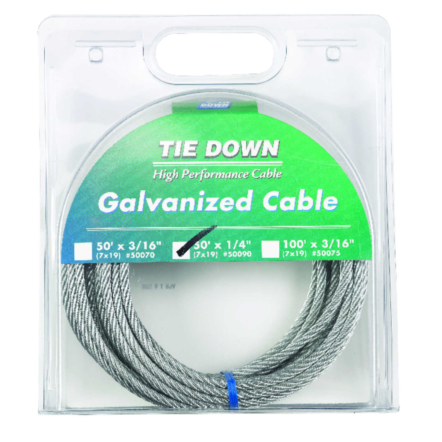 Tie Down Engineering  Galvanized  Galvanized Steel  1/4 in. Dia. x 50 ft. L Aircraft Cable
