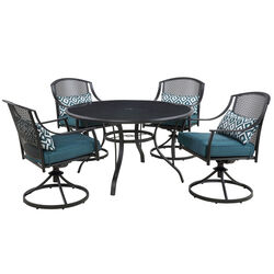 Living Accents  Cortland  5 pc. Black  Steel  Patio Set  Peacock Blue