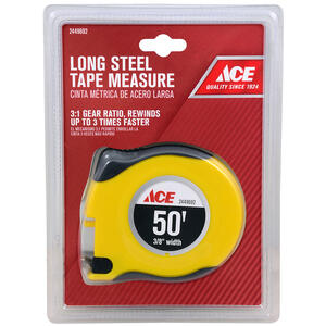 Ace  50 ft. L x 0.375 in. W Long Tape Measure  Yellow  1 pk