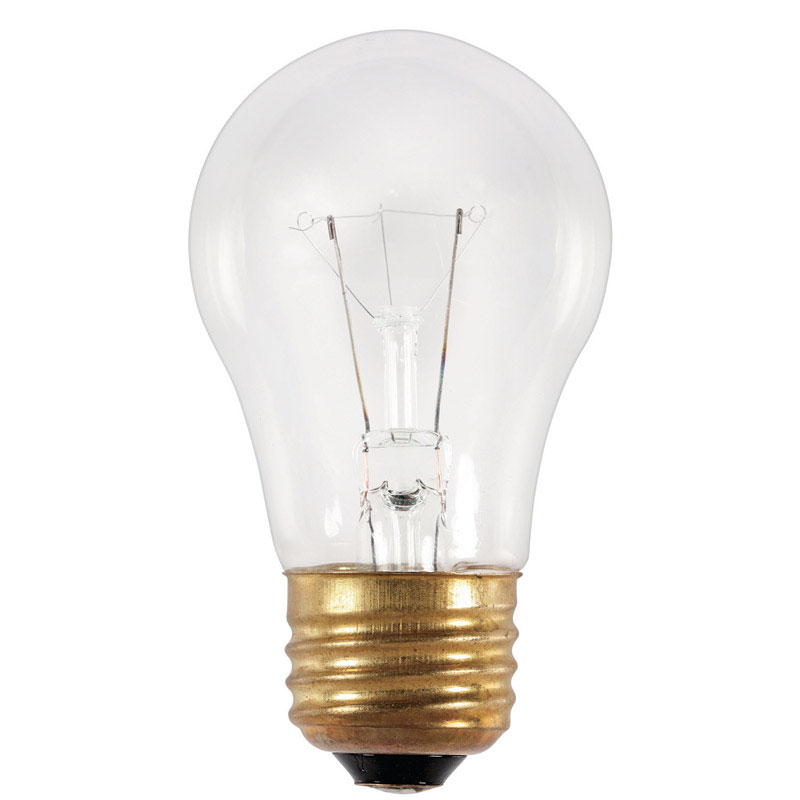 Westinghouse 25 watts A15 Appliance Incandescent Bulb E26 (Medium) White 1 pk Incandescent general service light bulbs are perfect for general or specified lighting such as appliances, microwaves and ceiling fans. A-shape light bulbs are available with medium, intermediate and candelabra screw bases making them compatible for use with standard household fixtures everything from table lamps, ceiling fans and appliances to porch lamps and outdoor lanterns.