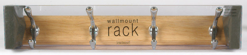 InterDesign  22 in. L Chrome  Beechwood  Wood/Stainless Steel  Jumbo  Rack  1 pk 4-Hook