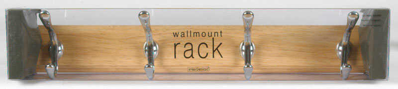 InterDesign  Chrome  Beechwood  Wood/Stainless Steel  Jumbo  4-Hook  Rack  22 in. L 1 pk