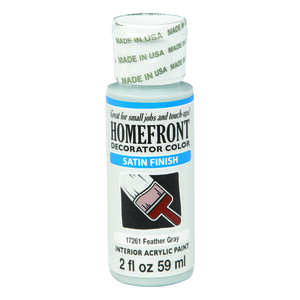 Homefront  Decorator Color  Satin  Acrylic Latex  Hobby Paint  Feather Gray  2 oz.
