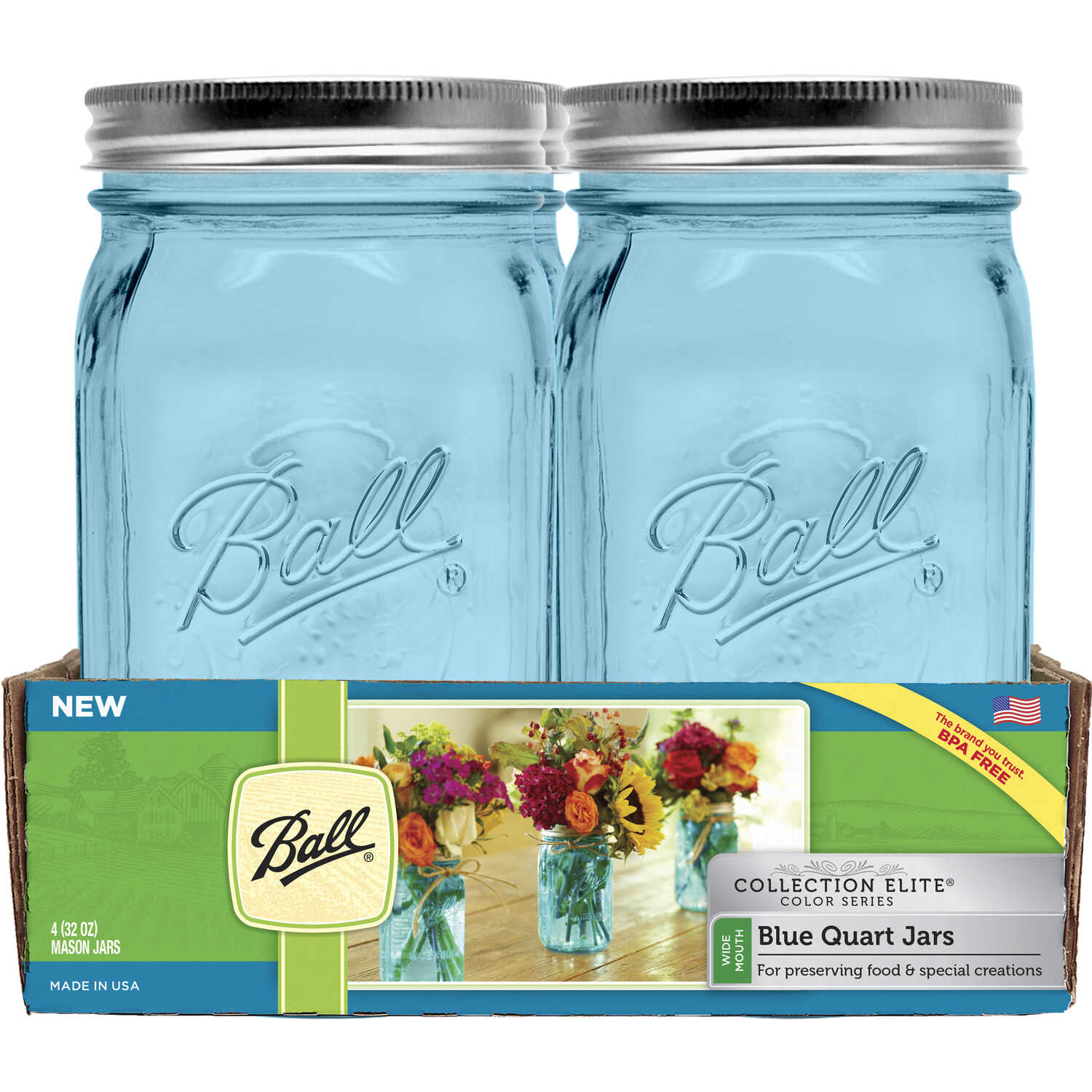 Ball Collection Elite Wide Mouth Canning Jar 1 qt. 4 pk - Ace Hardware