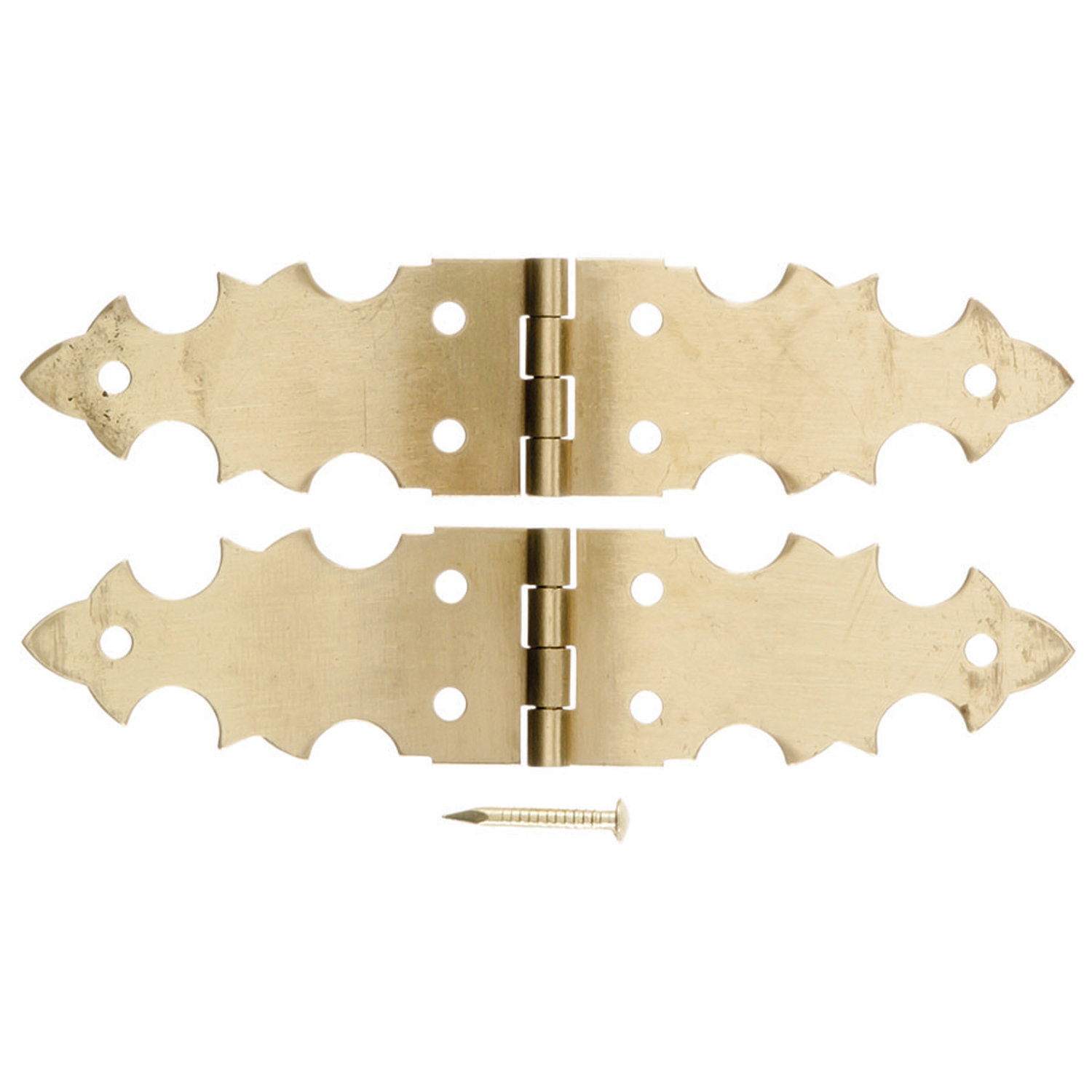 Ace  2-3/4 in. W x 5/8 in. L Polished Brass  Brass  Decorative Hinge  2 pk
