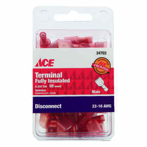 Ace  Insulated Wire  Male Disconnect  50 pk