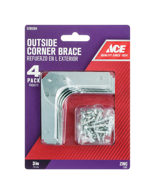 Ace  3 in. H x 4.75 in. W x 3 in. D Zinc  Corner Brace  Outside