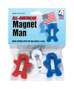 Adams  4.75 in. W x 1 in. L Red and White and Blue  Magnetic Man Clips