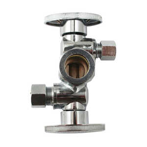 Keeney  5/8 in. Dia. x 3/8 OD. in. Dia. x 3/8 in. Dia. Ball  Dual Shut-Off Valve  Brass