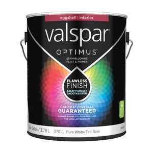 Valspar  Optimus  Eggshell  Tintable  Pure White Tint Base  Acrylic Latex  Paint and Primer  Indoor