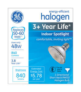 GE Lighting  48 watts PAR30  Halogen Bulb  840 lumens White  Medium Base (E26)  Spotlight  1 pk