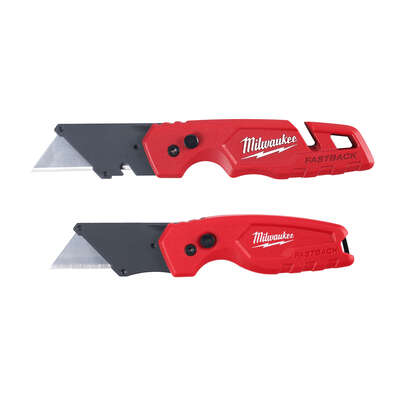 Milwaukee Fastback 6-1/2 in. Press and Flip Utility Knife Set Red 2 pc.