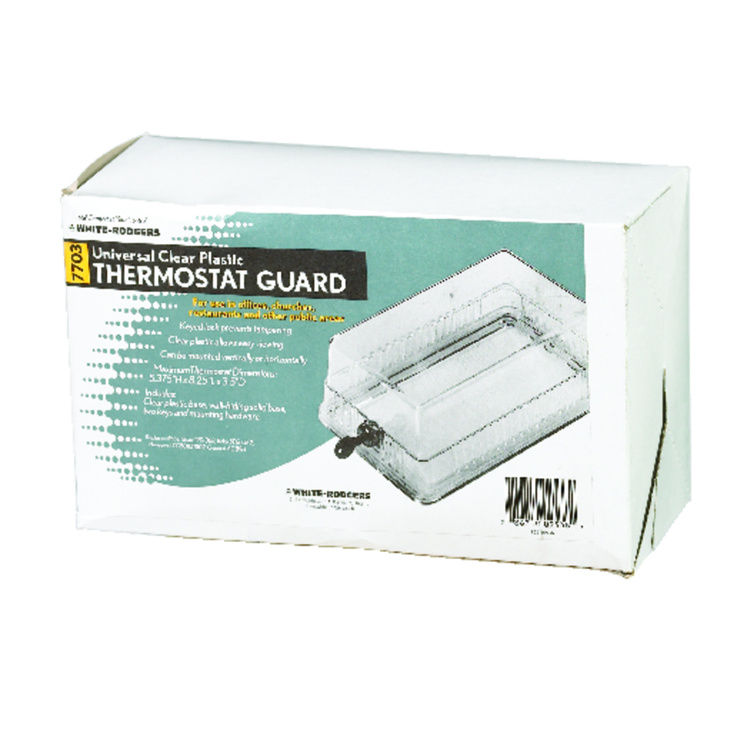 White Rodgers Heating and Cooling Lever Thermostat Guard Box The Large clear thermostat guard is a locking thermostat guard to protect your thermostat from unwanted tampering. This is the bigger of two thermostat guard models and is perfect to protect your large thermostat.