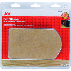 Ace  Felt  Slide Glide  Brown  Rectangle  4-1/2 in. W x 6 in. L 4 pk