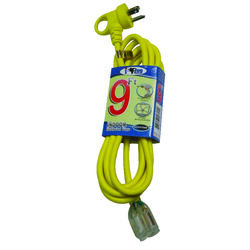 Conntek  Indoor or Outdoor  9 ft. L Yellow  Extension Cord  16/3 SJTW