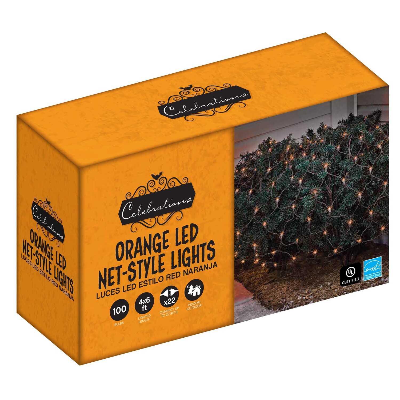 celebrations led net lighted orange halloween lights 6 ft