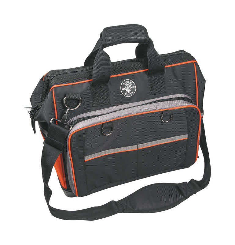 Klein Tools  10 in. W x 14 in. H Ballistic Nylon  Tool Bag  Black, Gray & Red