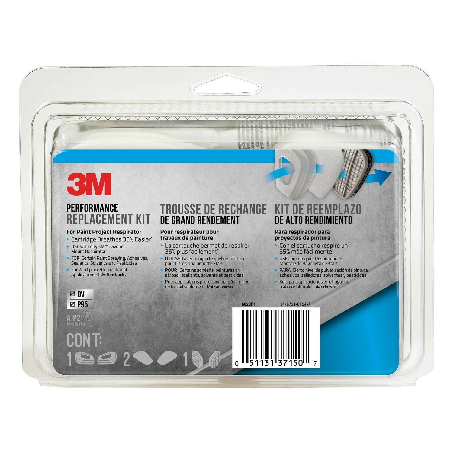 3M  P95  Paint Spray and Pesticide Application  Respirator Supply Kit  Gray  8 pc.