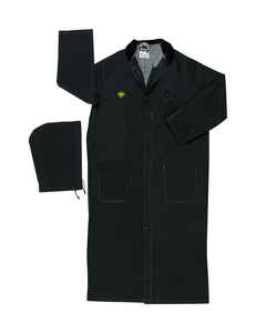 MCR Safety  PVC-Coated Polyester  XL  Black  Split Leg Raincoat
