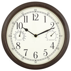 Westclox  12 in. L x 12 in. W Indoor and Outdoor  Classic  Analog  Clock/Thermometer/Hygrometer  Gla