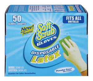 Soft Scrub  Latex  Disposable Gloves  One Size Fits All  White  50 pk