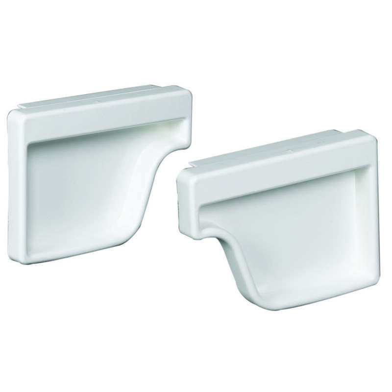 Amerimax  2 in. H x 3.5 in. W x 4.6 in. L White  Vinyl  Traditional  Gutter End Cap Set