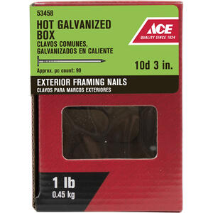Ace  10D  3 in. L Box  Hot-Dipped Galvanized  Steel  Nail  Thin Shank  Flat  1 lb.