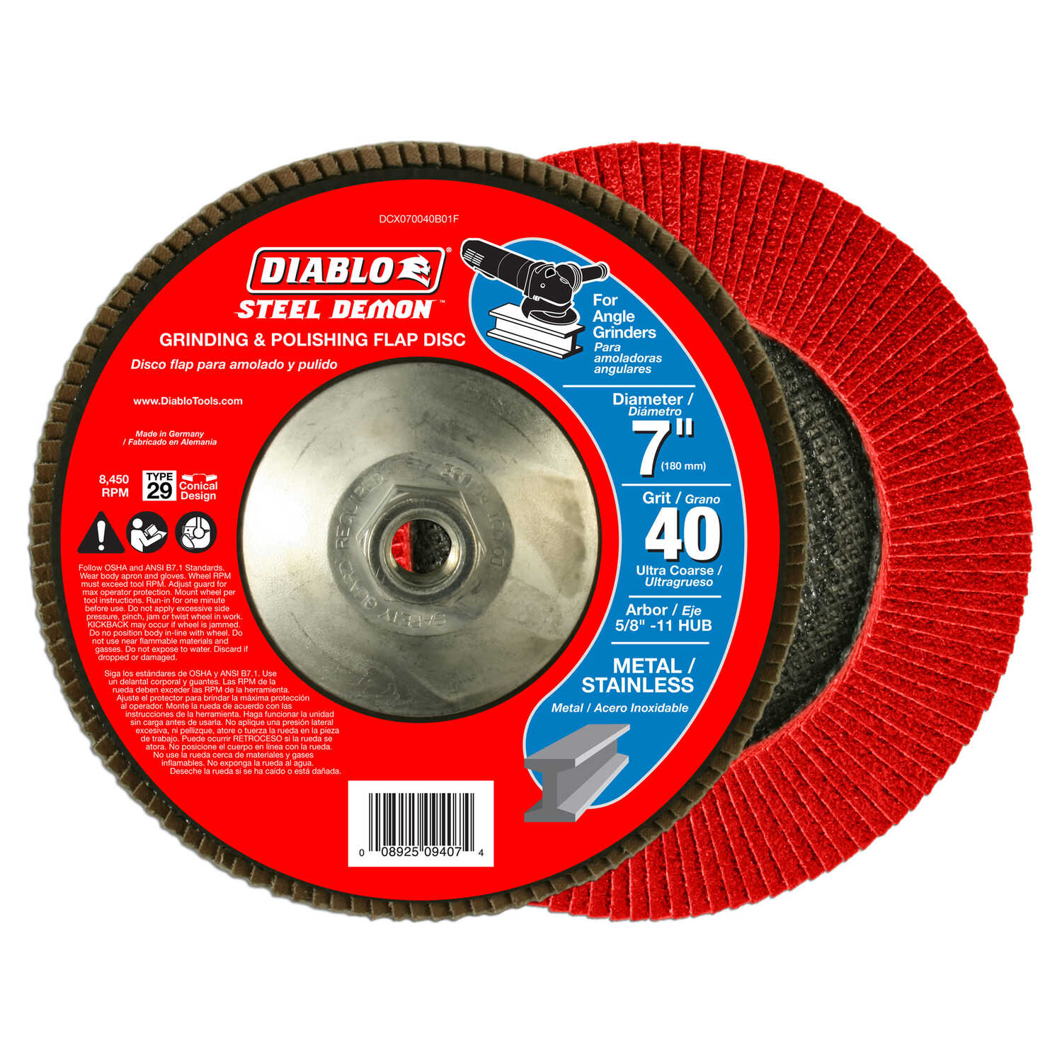 Diablo  Steel Demon  7 in. Zirconia Aluminum Oxide  Bolt-On  Grinding Disc  Ultra Coarse  40 Grit 1