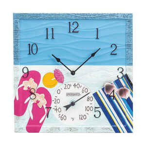 Springfield  At The Pool  Clock/Thermometer  Polyresin  Multicolored