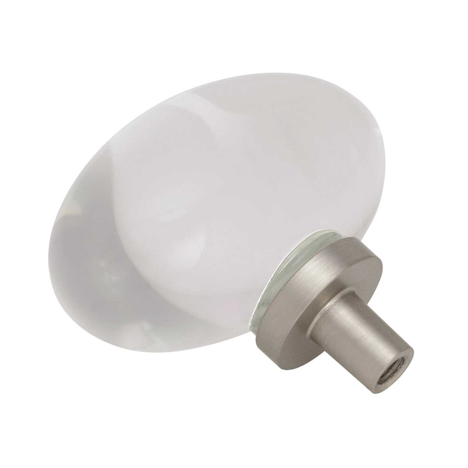 Amerock  Glacio Collection  Cabinet Knob  1-3/16 in. Clear/Satin Nickel  1 pk