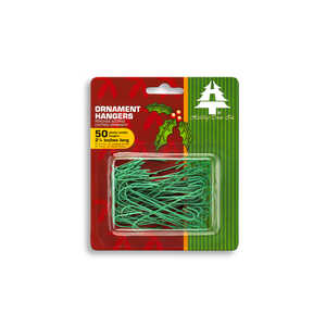 Holiday Trims  Ornament Hangers  Green  Plastic  50 pk Ornament Hooks