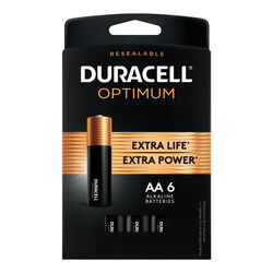 Duracell Optimum AA Alkaline Batteries 6 pk Carded
