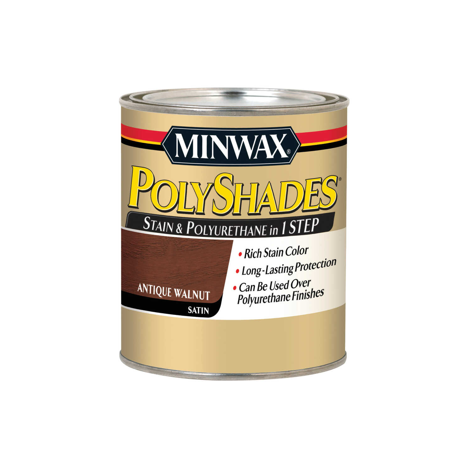 Minwax  PolyShades  Semi-Transparent  Satin  Antique Walnut  Oil-Based  Polyurethane Stain  1 qt.