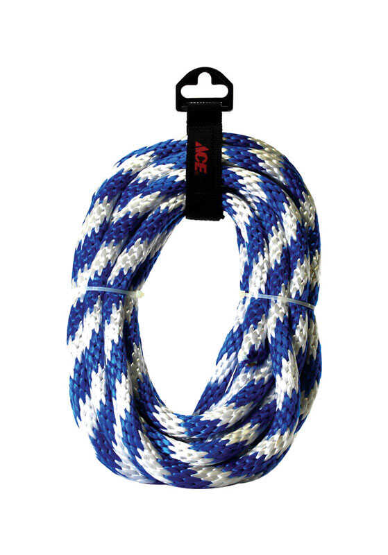 Ace  5/8 in. Dia. x 20 ft. L Blue/White  Solid Braided  Poly  Derby Rope