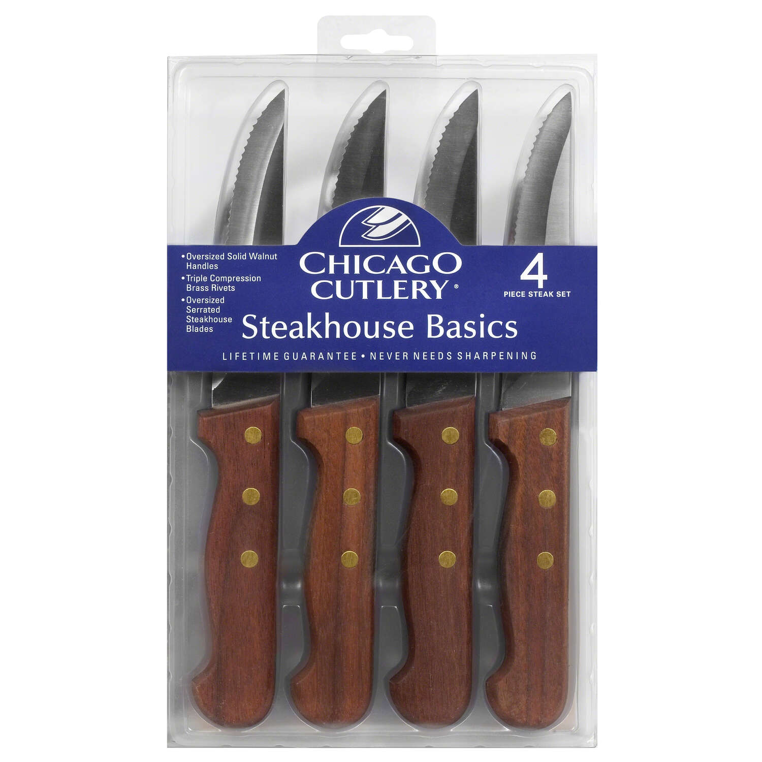 Chicago Cutlery  5 in. L Stainless Steel  Steak Knife  4 pc.