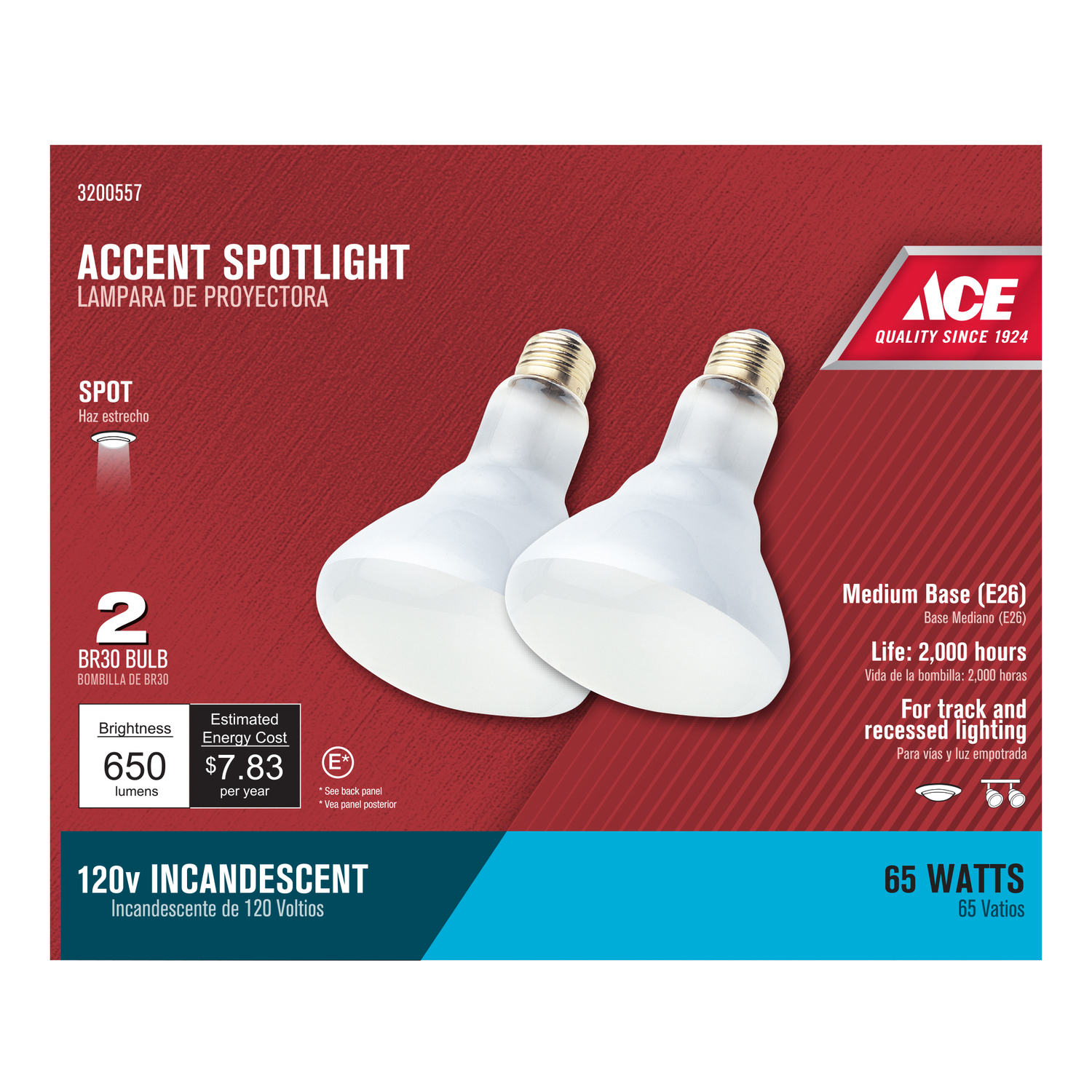 Ace  65 watts BR30  600 lumens 2700 K Medium Base  BR30  Incandescent Light Bulb  Spotlight