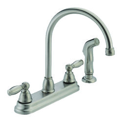 Peerless Claymore Apex Two Handle Stainless Steel Kitchen Faucet Side Sprayer Included