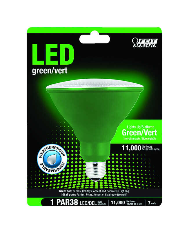 FEIT Electric  7 watts PAR38  LED Bulb  1400 lumens Green  Spotlight  120 Watt Equivalence