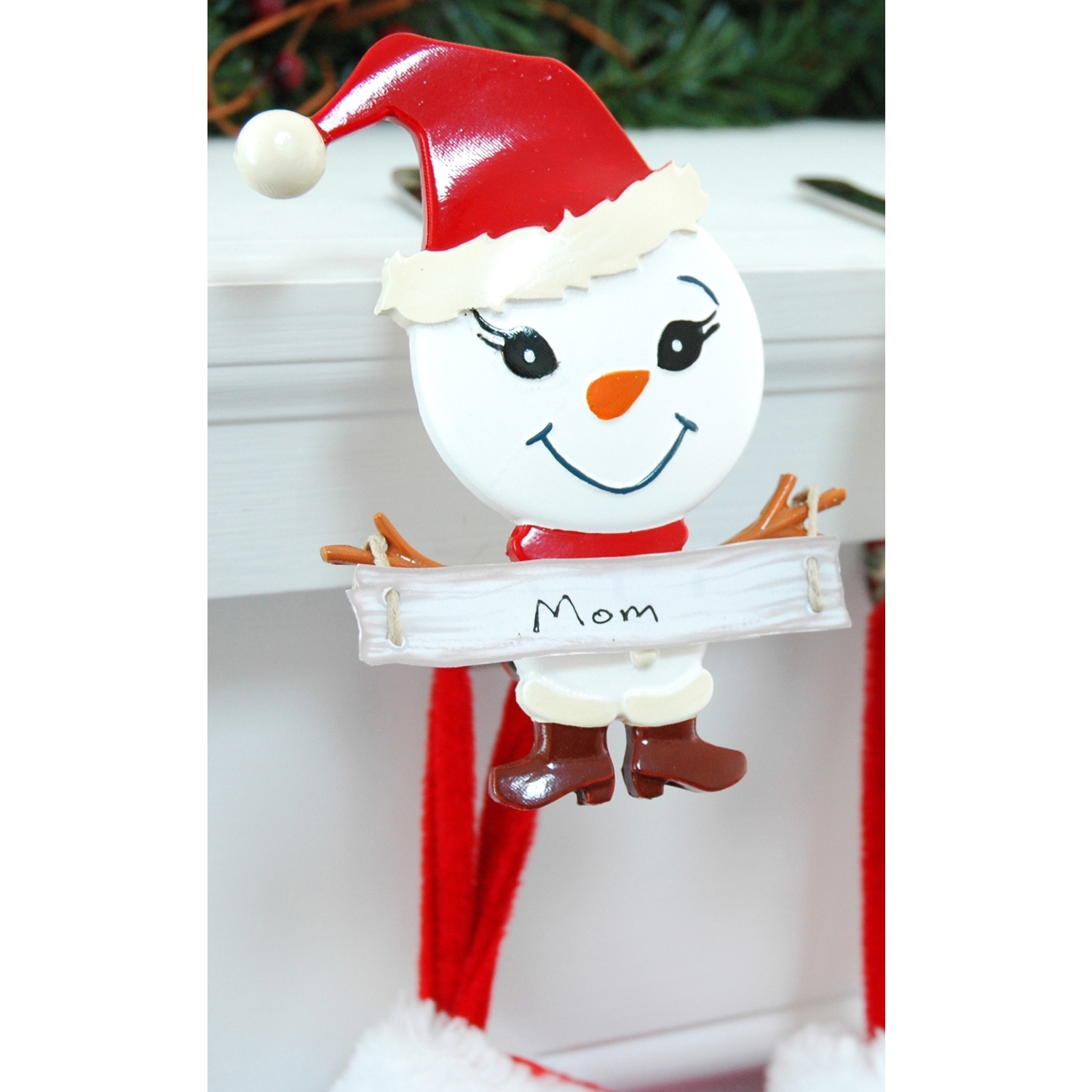 The Original MantleClip  Snowman Mother  Red/White  Porcelain  1 each Light Clips