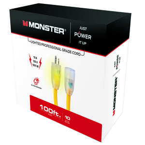 Monster Cable  Indoor and Outdoor  100 ft. L Extension Cord  10/3 SJTW  Yellow