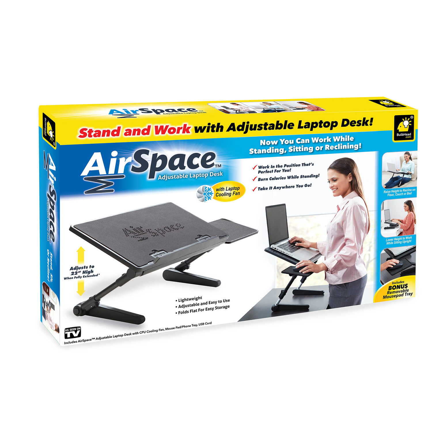 Air Space  22 in. H x 18 in. W x 10 in. L Rectangle  Lap Tray Table
