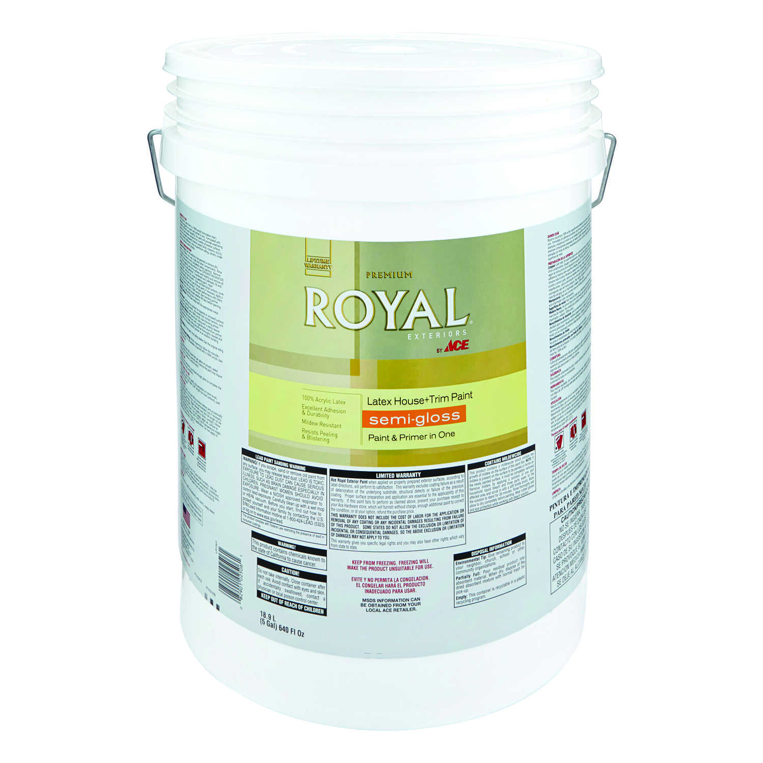 Ace  Royal  Semi-Gloss  Tintable Base  Acrylic Latex  5 gal. House & Trim Paint & Primer