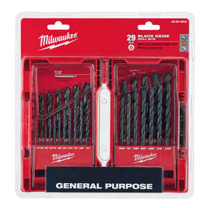 Milwaukee  THUNDERBOLT  Assorted  Dia. Black Oxide  3/8 in. 3-Flat Shank  29 pc. Drill Bit Set
