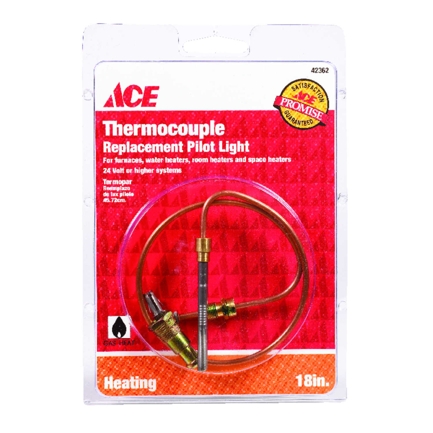 Ace  18 in. L 24 volt Millivolt Universal Thermocouple