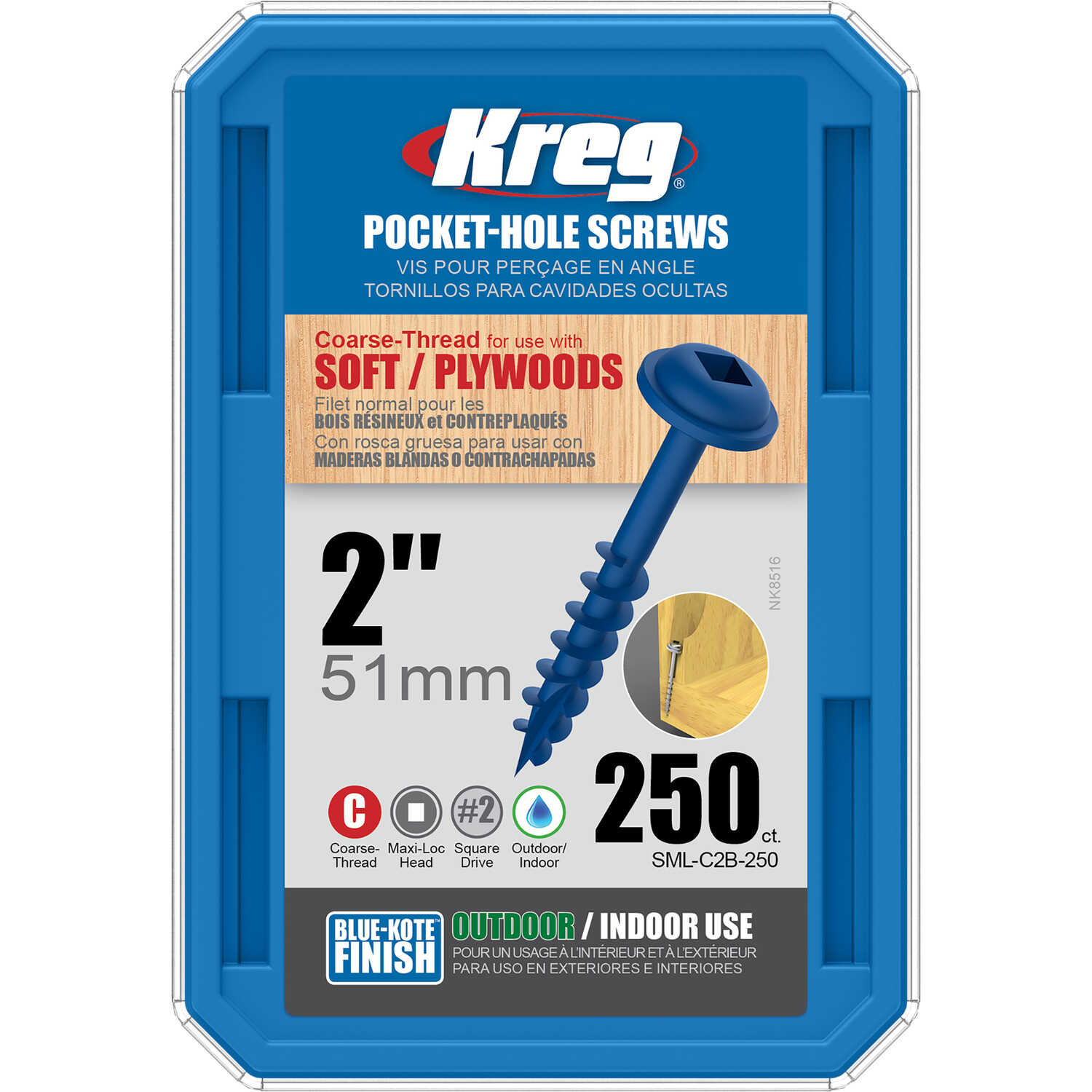 Kreg  No. 8   x 2 in. L Square  Maxi-Loc Head Blue-Kote  Steel  Pocket-Hole Screw  250 count