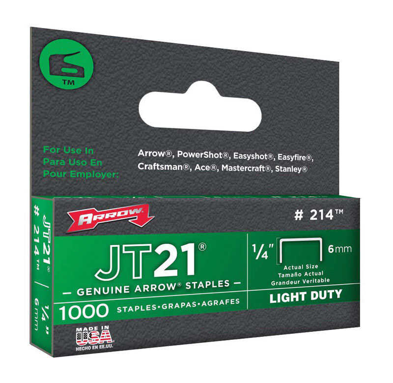 Arrow Fastener  1/4 in. L x 7/16 in. W Galvanized Steel  Light Duty Staples  23 Ga. 1000  Wide Crown