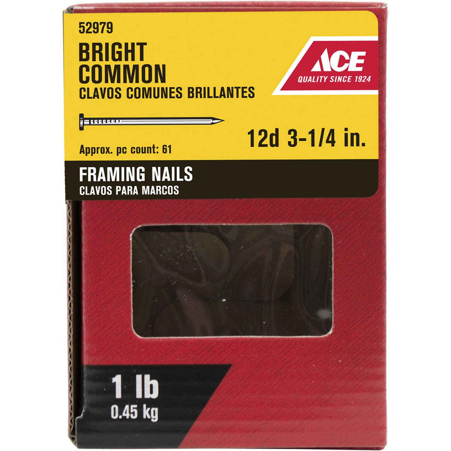Ace  12D  3-1/4 in. L Common  Bright  Nail  Smooth Shank  Round  1 lb.