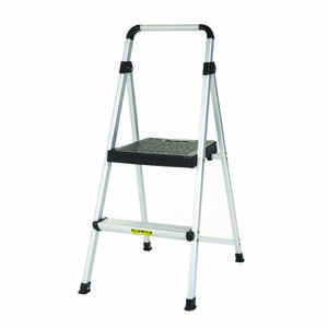 Cosco  Lite Solutions  39-3/8 in. H x 18-1/2 in. W 225 lb. 2  Folding Two Step Stool  Aluminum