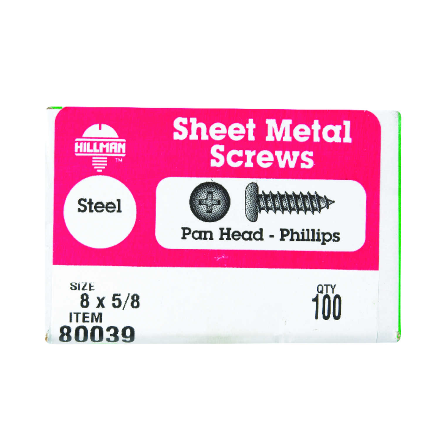Hillman  8 in.  x 5/8 in. L Phillips  Pan Head Zinc-Plated  Steel  Sheet Metal Screws  100  1 pk